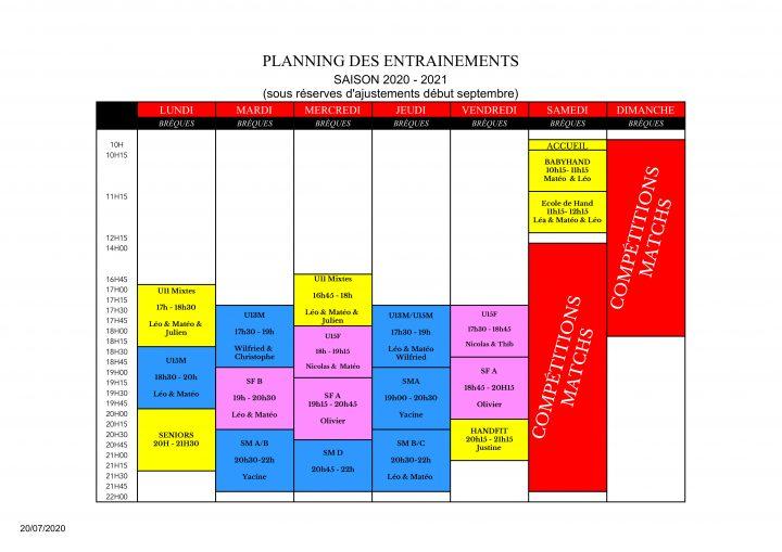 Creneau2020-2021 - Planning des entrainements