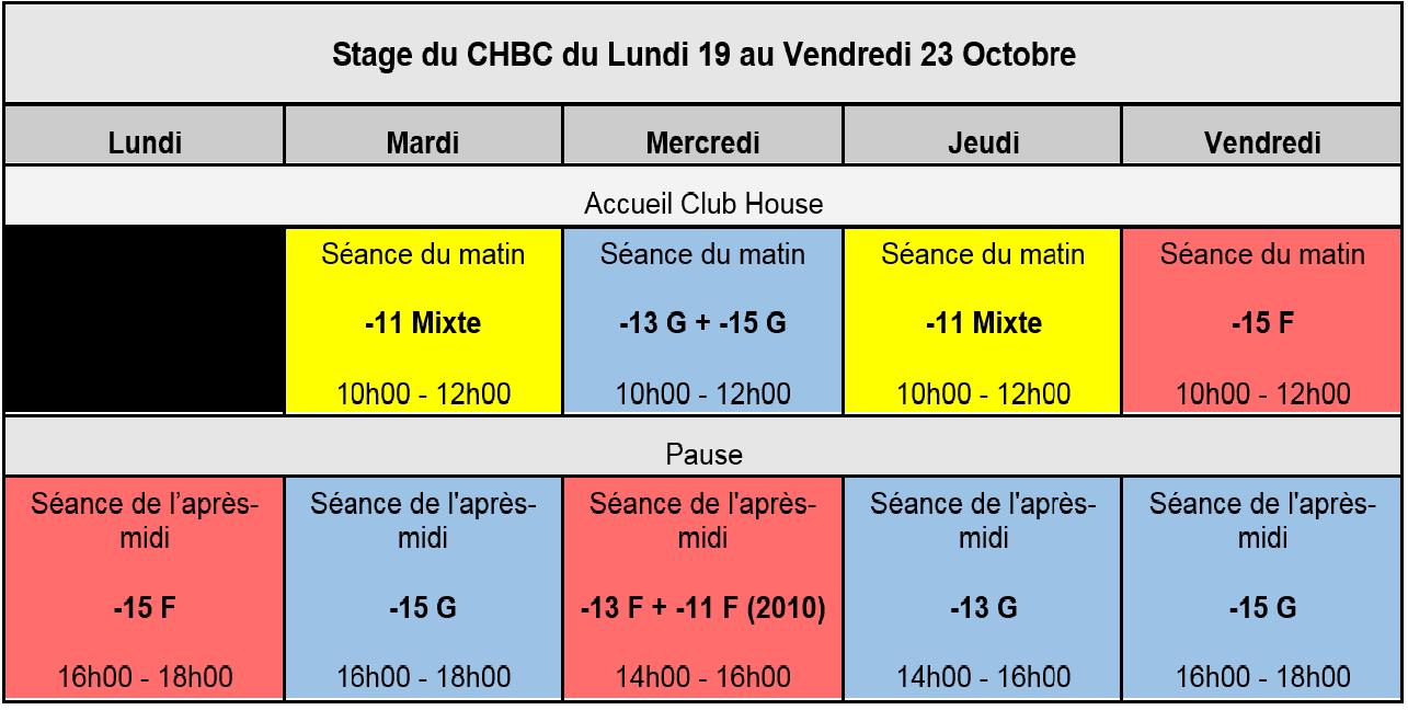 Stage Vacances CHBC